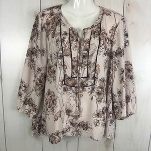 DR2 Pale Pink Floral Semi Sheer V-Neck Blouse